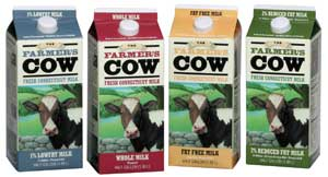 cartons of farmer's cow products: milk, lemonade
